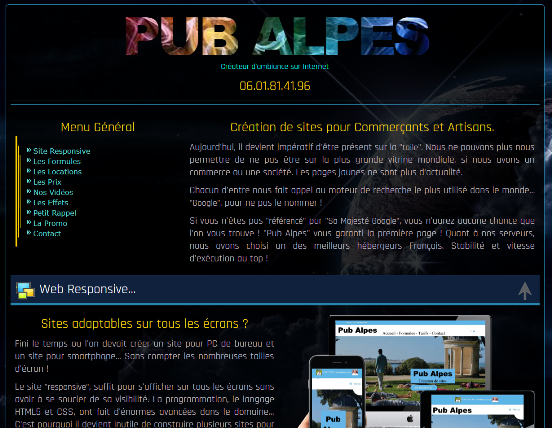 Site One-page de Pub-Alpes